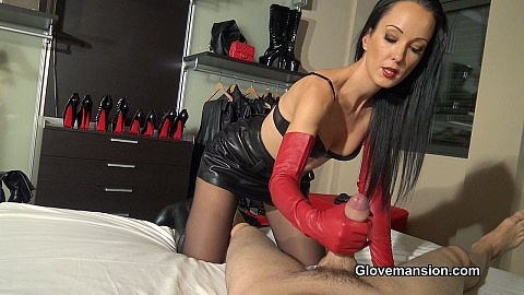 Fetish gloves hand job leather